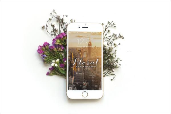 iPhone 6 Mockup Floral Design