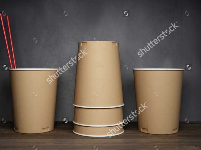 3D Rendering of Cups Mockup