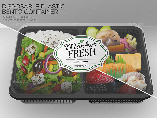 6 Plastic Box Food Packaging Mock Ups
