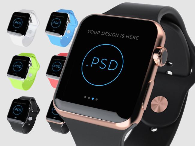 Apple Watch in 6 Colors Mockup