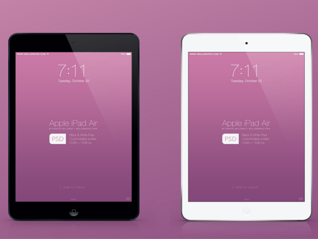 Apple iPad Air Mockup Free PSD