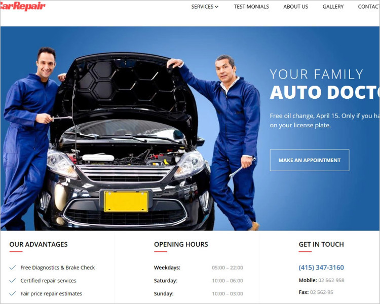 Auto Repair Bootstrape Website Template