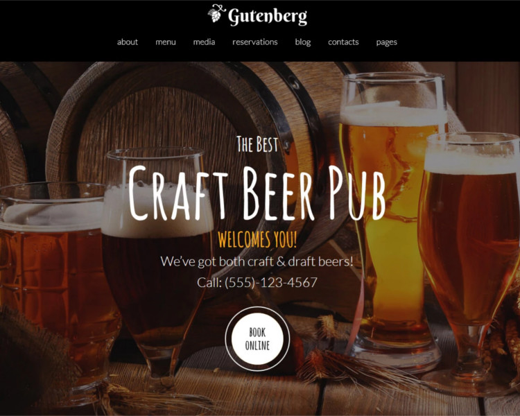 Beer Pub selling wordpress tehem