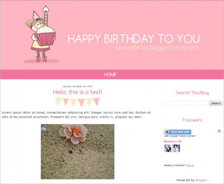 Birthday Bash Blogger Templates