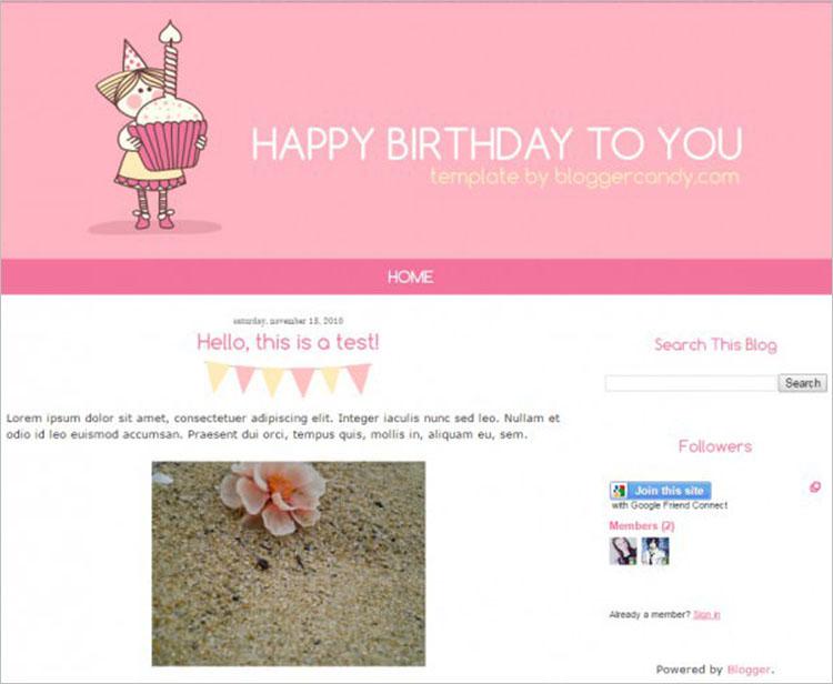 Birthday Bash Blogger Templates
