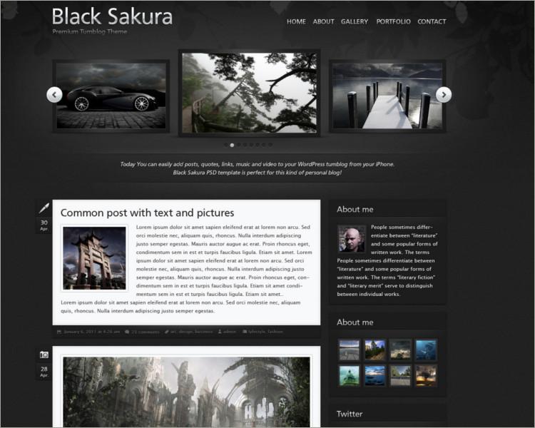 Black Sakura tumbler theme