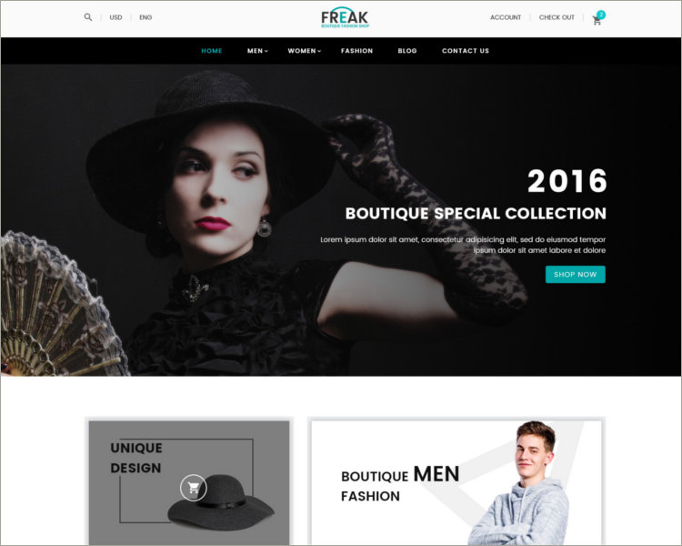 Boutique eCommerce PSD template