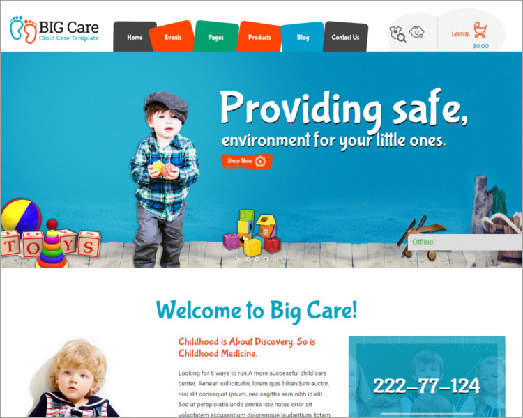 Child Care & Shop WordPress Theme