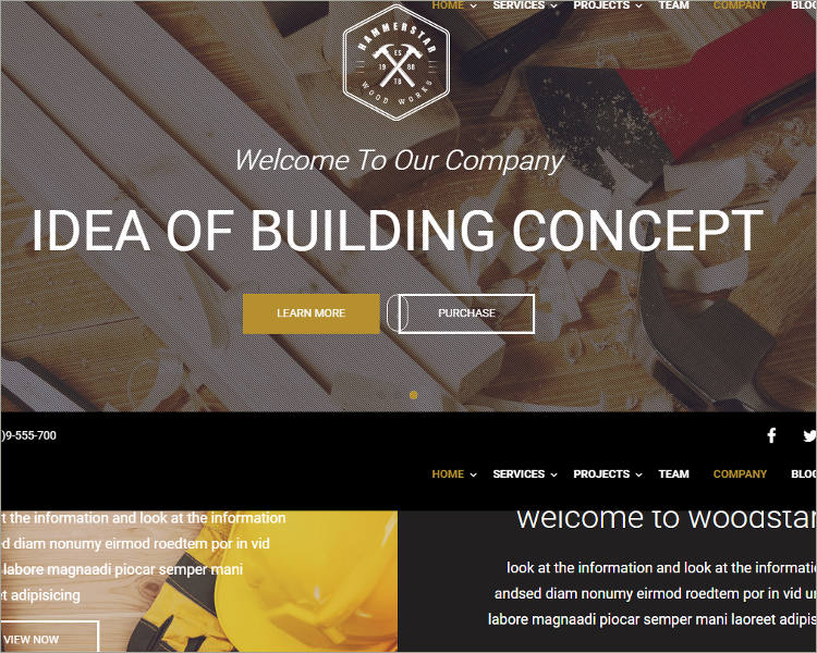 Construction & Carpentry WordPress Theme