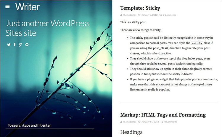 Copywriters Blog WordPress Theme Templates