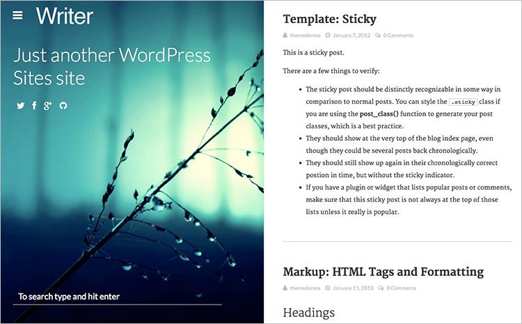 Copywriters Blog WordPress Theme Templates