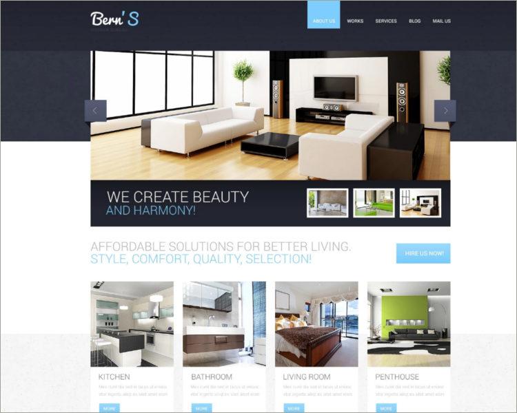 Costamizable Interior Design Responsive Website Template