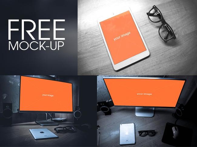 Desktop & Tablet Mockups Set Free PSD