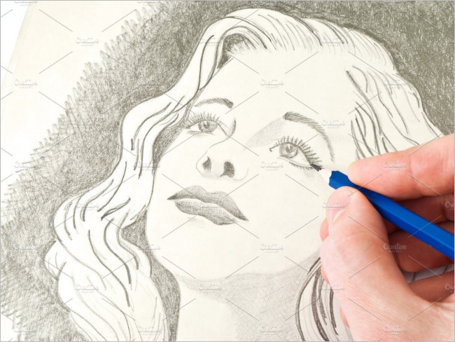 Drawing Young Lady With A Pencil