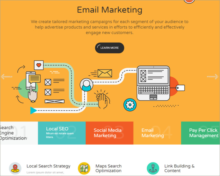 E-mail marketing website template