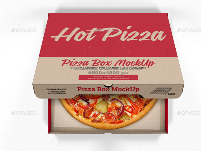 Food and Drink Pizza Box Mockup