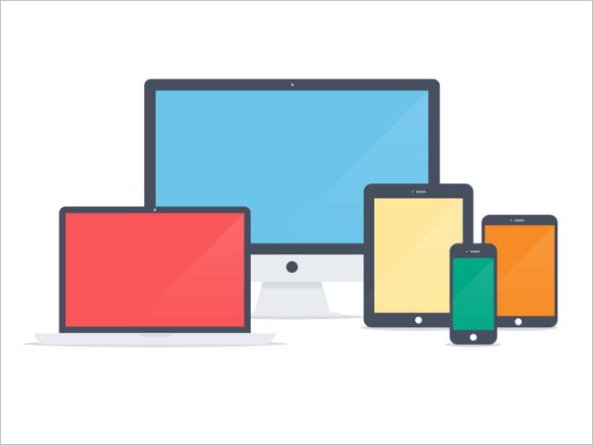 Free PSD Flat Apple Device Pack UI Kit Mockup