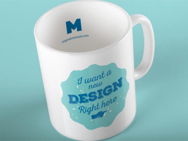 Free PSD Glassware Coffee Mug Mockup
