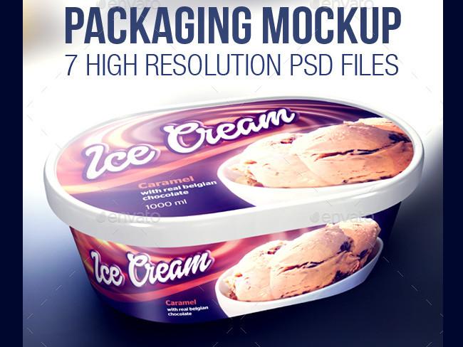 Fully Editable PSD Ice Cream Packaging Mockup