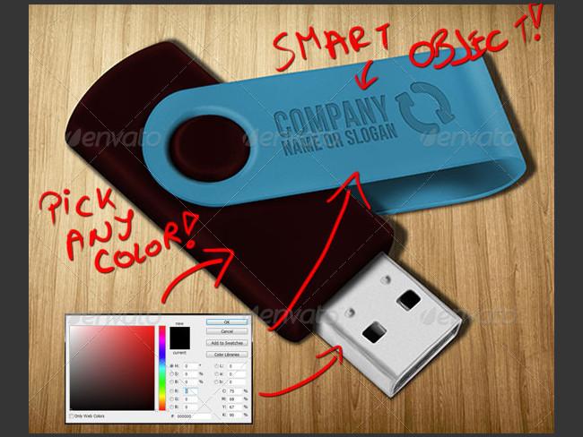 Fully Editable PSD Usb Pen Mock up