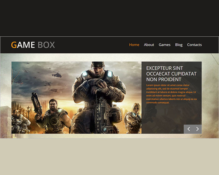Game Box Bootstrap templae
