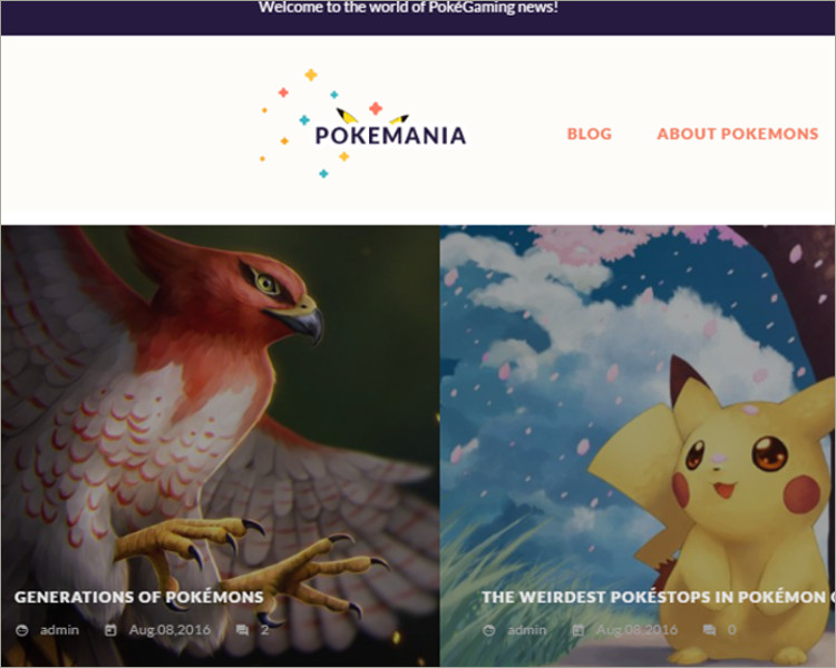 Game Portal Pokemon WordPress Theme