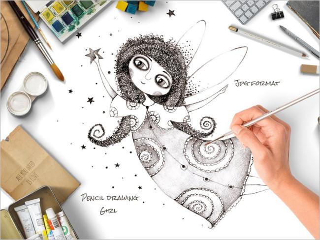 Girl Pencil Drawing Design