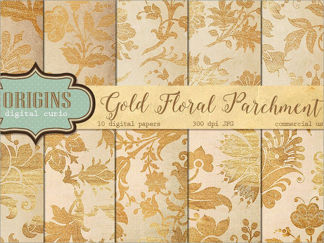 Gold Floral Parchment Digital Papers