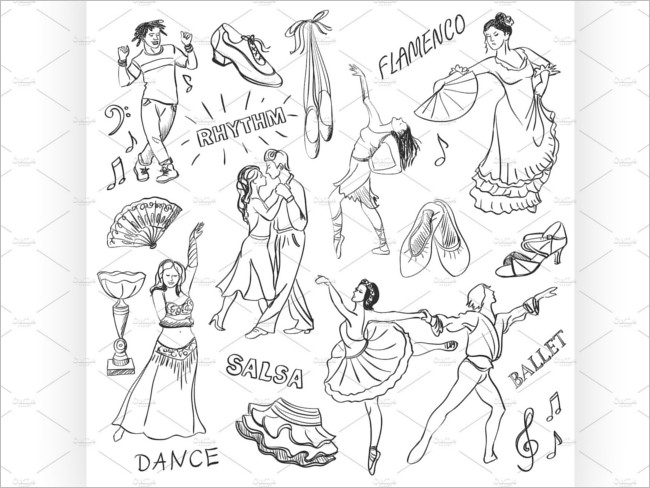 Hand Draw Dance collection Design