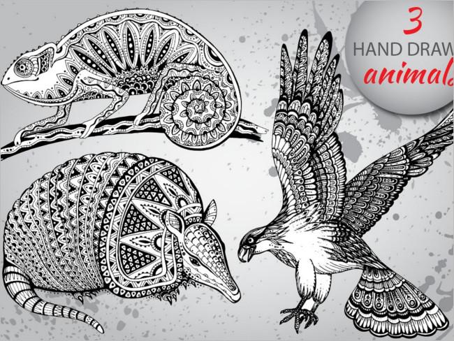Hand-Drawn Graphic Animals Drawing