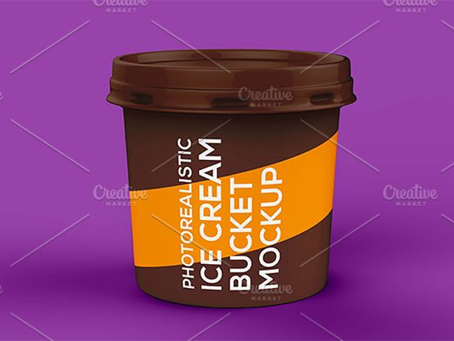 Ice Cream Bucket Mockup Template