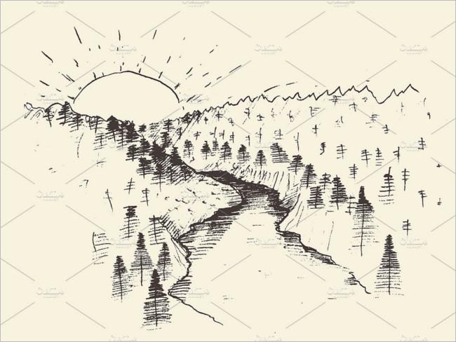 Landscape With Sunrise Design