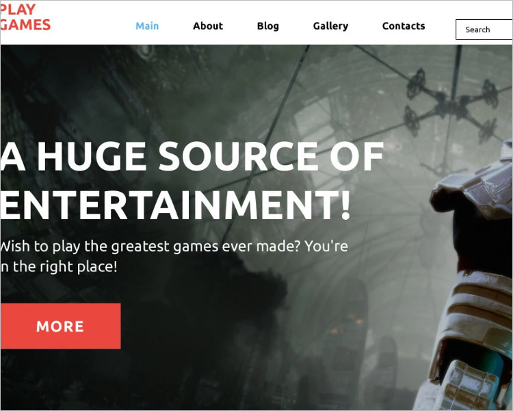 Latest Bootstrap game Template