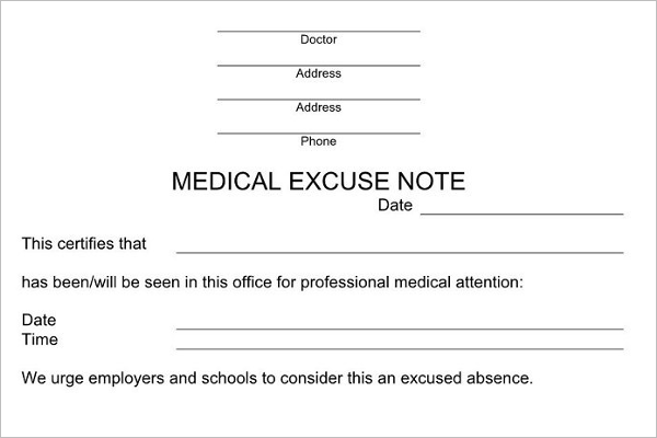 Medical Excuse Note Template