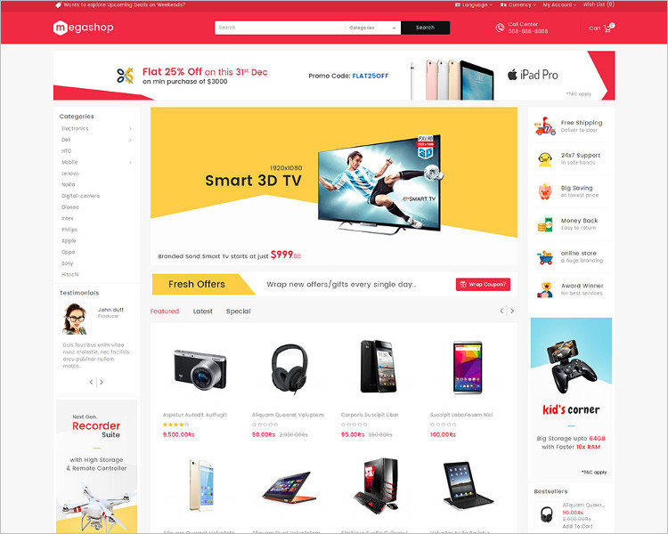 Mega Shop PSD website Template