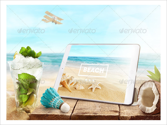 Mock-Up Laptop and tablet (PSD). Beach style