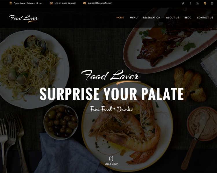 Modern Restaurant WordPress Template