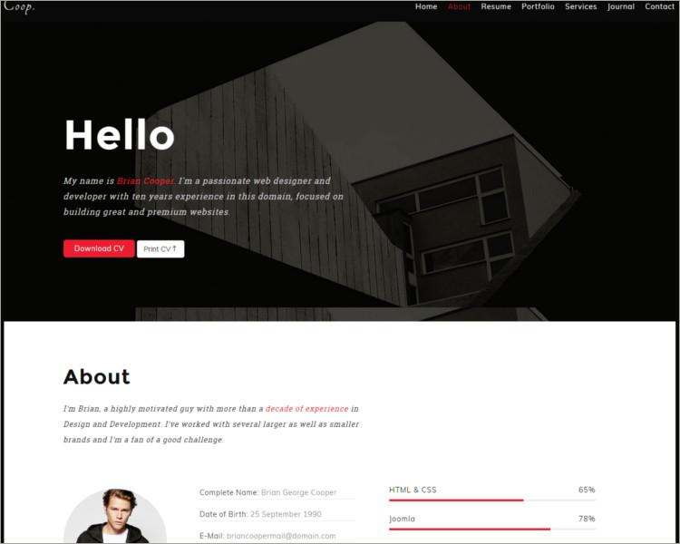 Onepage Personal Portfolio Joomla Theme