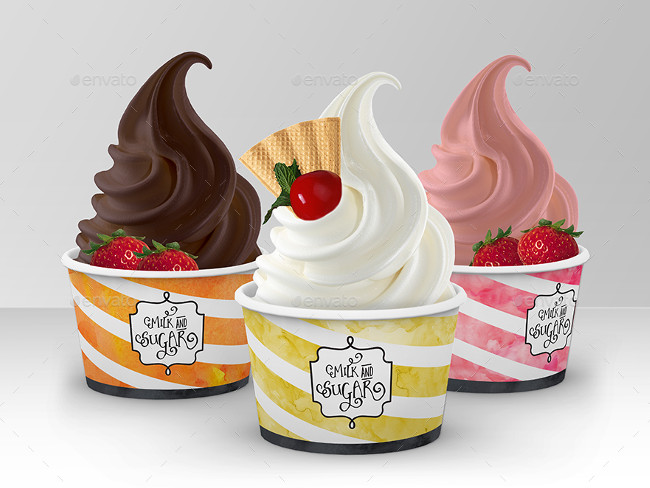 Packaging Mock Up Ice Cream -Yogurt Cup - Cone