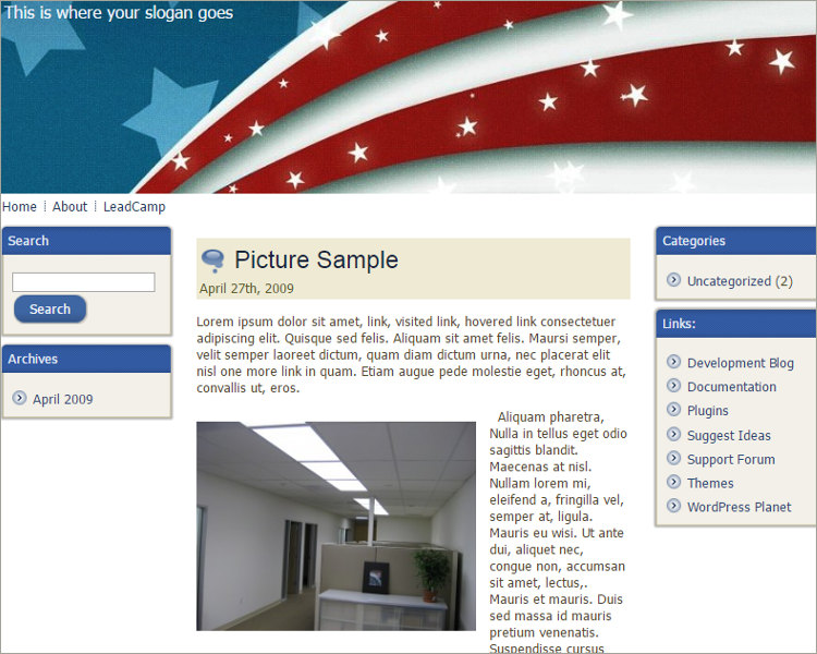 Patriotic American Flag Free WordPress Template