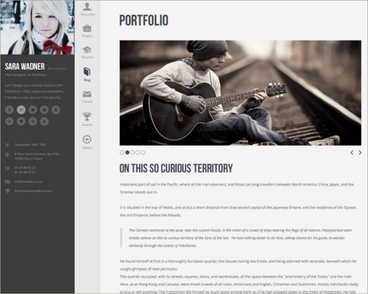 Personal Resume Joomla Template