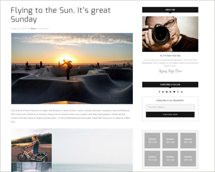 Photography Blog Joomla Template