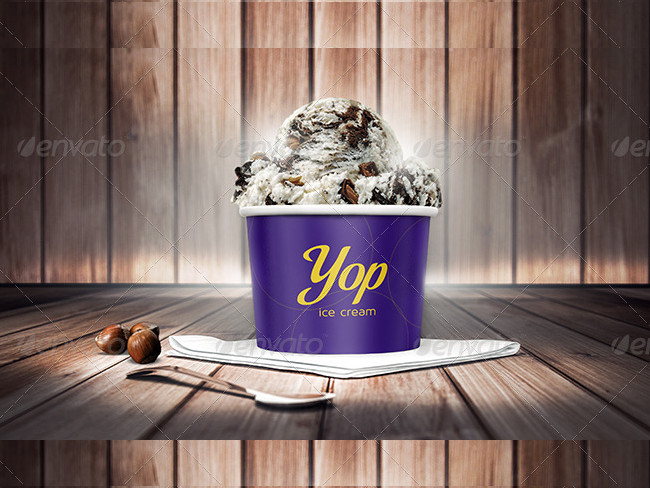 Photorealistic Ice Cream Cup Mock-Ups