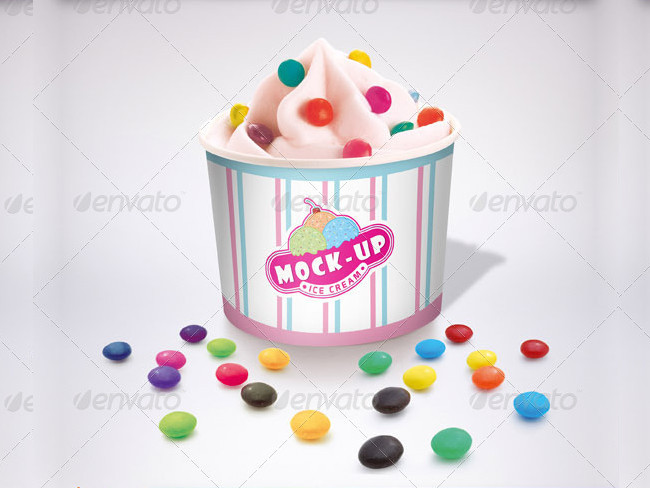 Photorealistic Ice Cream Mockup with Customizable Option