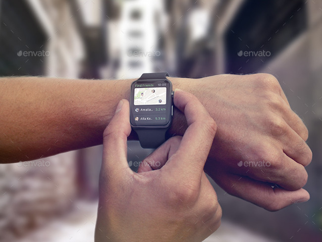 Premium Apple Wrist Watch Mockup PSD