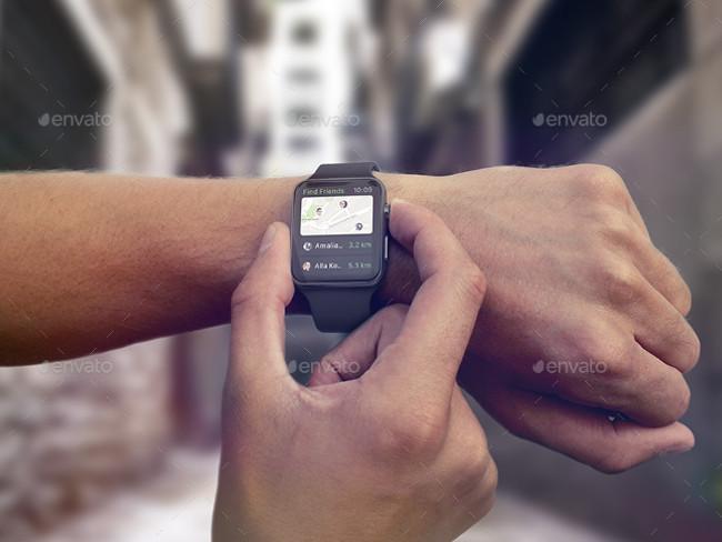 Premium Apple Wrist Watch Mockup PSD