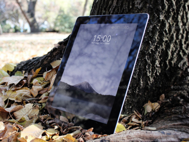 Premium Tablet Mockup 4 PSD Autumn Theme