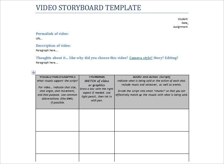 Printable Video Storyboard Template