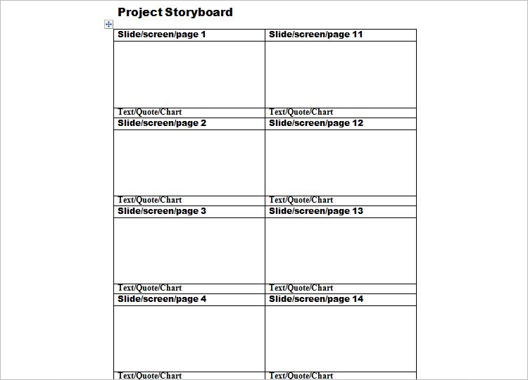 Project  Storyboard Template Word