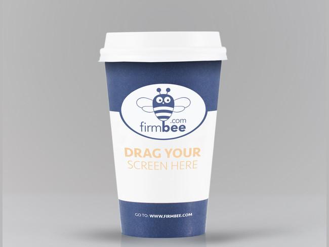 Realistic Blue Coffee Cup Mockup